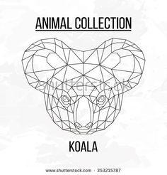 Koala head geometric lines silhouette isolated on white background vintage vector design element illustration