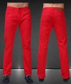 Men's Jean Pants Casual Elegant Pants Size 29-38, Red