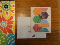 Hexagon/honeycomb patchwork card with bee.