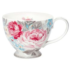 Stoneware teacup in Vera vintage design ~ by GreenGate, Denmark. Dishwasher safe, but hand washing recommended. Diameter = 11.5cm.