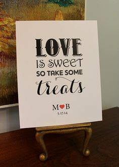 Love is Sweet Sign  Dessert Table Sign  Custom by purplegator, $4.00
