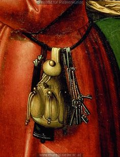 Keys and pouch     Detail from The Visitation by Sebastian Taig, c. 1518-1522