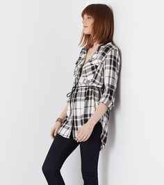 Belted Plaid Tunic with Faux Leather