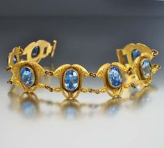 Blue Glass Gold Lily Art Nouveau Bracelet Antique by boylerpf, $175.00