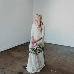 modest wedding dress with three quarter sleeves from alta moda. -- (modest bridal gown).