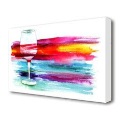 East Urban Home wine rainbow stretched kitchen canvas. printed on heavy weight canvas. mounted on to box frame. this wine rainbow kitchen canvas is ready to hang straight from the box. Size: 66 cm H x cm W Kitchen Canvas Art, Kitchen Artwork, Kitchen Posters, Diy Painting, Painting Prints, Canvas Prints, Strawberry Art, Rainbow Kitchen, Simple Canvas Paintings