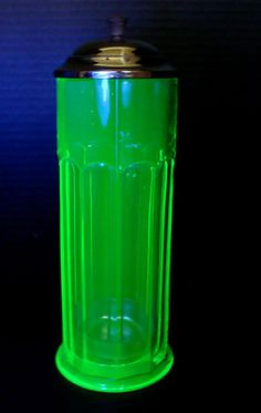 Vaseline glass straw dispenser-Would love to have one of these. Green glass is my favorite.