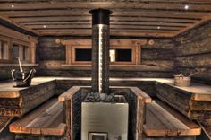 Sauna, love this sauna. So rustic and cozy Finland Diy Sauna, Sauna House, Sauna Room, Steam Bath, Steam Room, Rustic Saunas, Spas, Piscina Spa, Cottage
