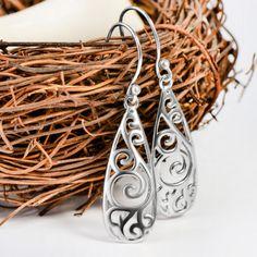 Teardrop Filigree Earrings Bridesmaid Jewelry Wedding Drop Earrings Jewelry New. Wedding Earrings Drop, Bridesmaid Earrings, Wedding Jewelry, Filigree Earrings, Dangle Earrings, Charms, Fashion Jewelry, Women Jewelry, Fashion Fashion
