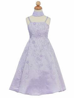 Lilac Flower Girl Dress - Matte Satin A-Line Style: Spaghetti strap A-line satin dress & shawl Beads and sequins floral bodice and skirt Ankle length Made in U. Lilac Flower Girl Dresses, Lilac Flowers, Purple Lilac, Tea Length Dresses, Short Dresses, Prom Dresses, Daddy Daughter Dance Dresses, To My Daughter, Dress With Shawl