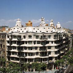 La Pedrera. By architect Antonio Gaudi. Located in Paseo de Gracia, Barcelona.  Also known as Casa Mila.
