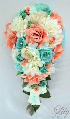 17 piece package wedding bridal bouquet silk by lilyofangeles gelin buketle Ribbon Bouquet, Silk Flower Bouquets, Cascade Bouquet, Blue Bouquet, Bouquet Toss, Silk Flowers, Blue Wedding Flowers, Flower Bouquet Wedding, Wedding Blue