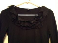 Ann Taylor Black Ruffled Long Sleeve Slimming & Flattering Blouse Shirt Size XS  #Style #Fashion #Deal
