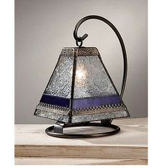 J devlin glass art mini table lamp -stained glass mini vintage plum