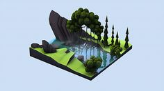 Forest squarescape Another small scene illustration #Erathic #C4D