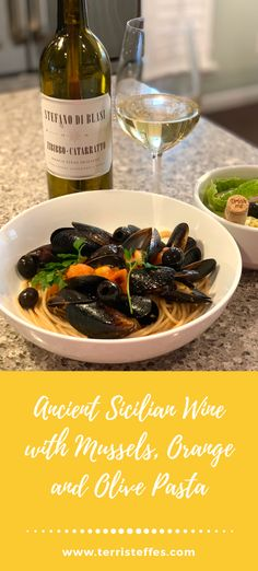 Paired with ancient old world Sicilian wine, this dish is divine! #pastawithmussels #musselsdish #pastaandseafood
