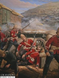 Wounded: Cpl's Allen & Lyons, B. Coy 2nd Bn 24th Foot, Rorkes Drift, Back Wall, commanded by Sjt Henry Gallagher, B Coy. At about 1800, Cpl Lyons was hit in the neck by a bullet which paralysed him, his friend, Cpl Allen, bent to help him, Allen was shot through the arm. In the foreground Cpl Attwood, Army Service Corps distributes ammunition. The wall was abandoned shortly after & the British retired to the small area in front of the storehouse. Allen was later awarded the VC & Attwood the…