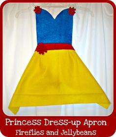 Fireflies and Jellybeans: Easy DIY Princess Dress-up Aprons Tutorial {remixed}