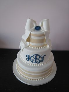 Stripes and Monogram Cake