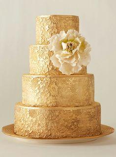 Gold leaf design wedding cake
