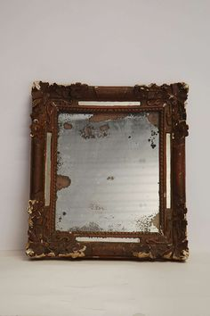 MIR121: small wall - french period bronze-painted distressed framed mirror with foxed glass W44cm x H48cm