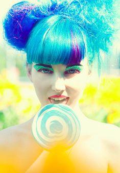 Blue hair lollipop girl