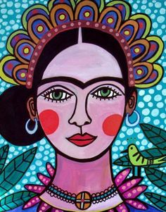 Mexican Folk Art - Frida Kahlo Art Print Poster of Painting