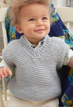 Knitting Baby Vest Free Knitting Pattern Baby & Play Vest in Red Heart Yarn Bab. Baby Boy Knitting Patterns, Knitting For Kids, Baby Patterns, Free Knitting, Baby Knitting, Sewing Patterns, Crochet For Boys, Crochet Baby, Baby Girl Vest