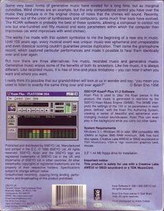 Brian Eno's Generative Music 1 with SSEYO Koan software back