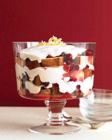 With layers of sweetened cranberries, buttery pound cake, and fluffy whipped cream, this trifle is a truly easy dessert -- merry and dazzling. Make this gingery fruit dessert with Vanilla Pound Cake.