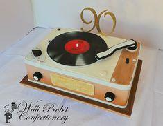 Vintage record player 90th birthday cake   Willi Probst Bakery   Flickr