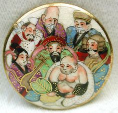 """Vintage Satsuma Button All Seven of the Japanese Immortals 1 1/16""""."""