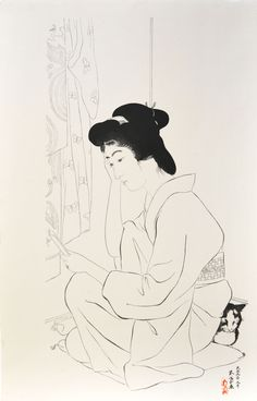 Woman with Pocket Mirror and Cat by Goyo (Ref#: JP5012)