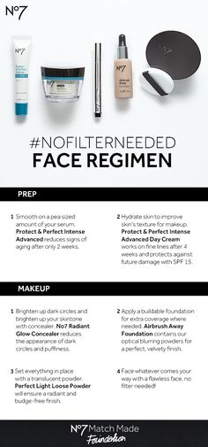 The most flawless makeup look starts with a solid foundation — and we don't just mean our  new Airbrush Away. Prep your face with the best No7 skincare regimen possible, and you'll be  amazed how great your makeup looks —  #NoFilterNeeded! All products available at @Target: No7 Protect & Perfect Intense Advanced  Anti Aging Serum: $29.99 No7 Protect & Perfect Intense Day Cream: $24.99 No7 Radiant Glow Concealer: $13.99 No7 Airbrush Away Foundation: $17.99 No7 Perfect Light Loose Powder…