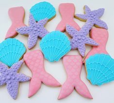 Mermaid/ocean cookies Mermaid, Ocean, Cookies, Desserts, Crack Crackers, Tailgate Desserts, Deserts, Biscuits, The Ocean
