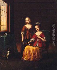 Elegant Ladies With A Toy Spaniel In An Interior Oil Painting - Frans van Mieris