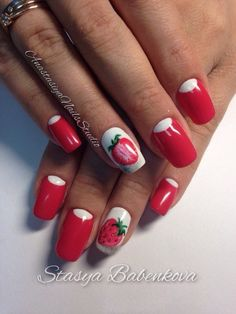 Juicy strawberry manicure beckons to touch the bright red nails, to touch them with your fingers. Spectacular moon design, made of white polish, shades the richness of the glossy coating, adds sophistication to the manicure. Seductive bold color emphasizes the super-smooth base and tasty berries exc…