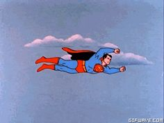 Superman vintage cartoon flying superheroes gif