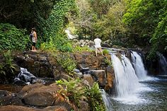Waterfall in the garden of the colonial villa Eureka in Moka, Mauritius, Africa