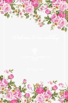 Cor - de - Rosa pintadas à mão, Flores, O Tema Do Casamento, Cartão De SaudaçãoPNG e PSD
