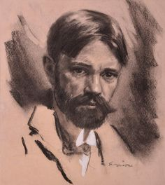 "Twentieth Century British Art by Joseph Simpson: ""Portrait of D. White Highlights, Charcoal Drawing, Gouache, The Twenties, Joseph, Modern Art, Male Portraits, Drawings, Illustration"