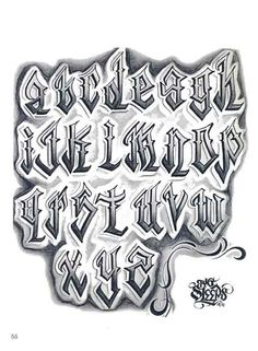 Letters to Live By: Lettering Reference Graffiti Lettering Alphabet, Tattoo Fonts Alphabet, Chicano Lettering, Graffiti Font, Tattoo Lettering Design, Hand Lettering Fonts, Doodle Lettering, Creative Lettering, Lowrider Tattoo