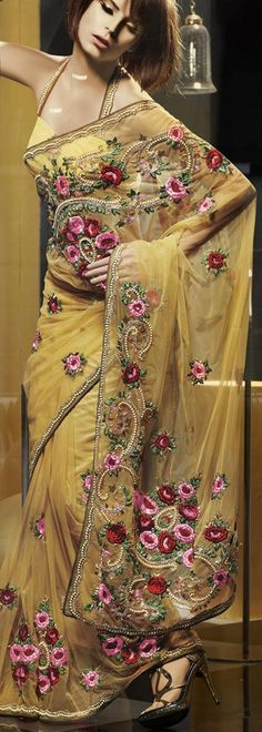 $260.34 Yellow Net Latest Fashion Saree 16773 With Unstitched Blouse