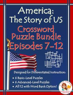Make sure your students have fun in U.S. History second semester with these America the Story of US Puzzle Worksheets for Episodes 7-12. Covers from the late 1800s and industrialization through contemporary issues! Includes a basic *and* and advanced puzzle for each episode, with fast and easy differentiation via a word bank option for all 12! Answer keys included. #americanhistory #ushistory #americathestoryofus #wwii #industrialization #coldwar #greatdepression #civilrights #watergate… Crossword Puzzles, Teaching Materials, Teaching Ideas, Differentiated Instruction, Fall Cleaning, Teaching History, Group Work, Differentiation, Student Learning