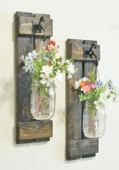 NEW Design..Rustic Primitive Farmhouse Wood Wall Decor... 2  Hanging Mason Jar Sconces..Wall Sconce by cottagehomedecor on Etsy https://www.etsy.com/listing/257288687/new-designrustic-primitive-farmhouse