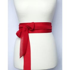 Wide red taffeta obi belt sash with chiffon ribbons ($35) ❤ liked on Polyvore featuring accessories, belts, stuff, red sash belt, sash belt, wide belt, wide sash belt and chiffon sash belt