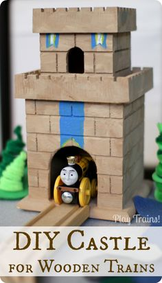 DIY Castle for Wooden Trains @ Play Trains! http://play-trains.com An inexpensive craft perfect for playing out the new Thomas and Friends movie, King of the Railway.