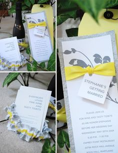 printable wedding invitations yellow and gray - Google Search