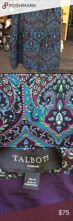 16W Talbots Paisley Midi Skirt Shell: 98% Polyester 4% Spandex Lining: 100% Polyester Talbots Skirts Midi