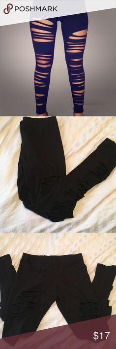 Fashion nova ripped black leggings New with tags never been worn before. These leggings are currently sold out at fashion nova. Fashion Nova Pants Leggings